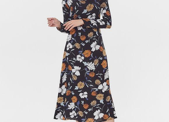 Платье чёрное цветы