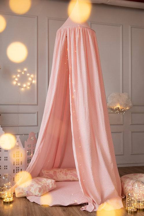 Canopy Pink with Gold Dots