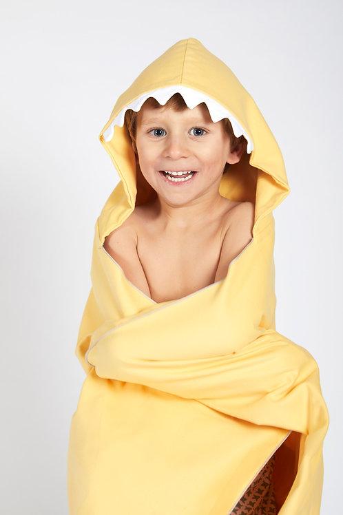 Autonomy hooded towel Shark Maxi Yellow