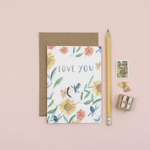 Sunflower Love You greetings card