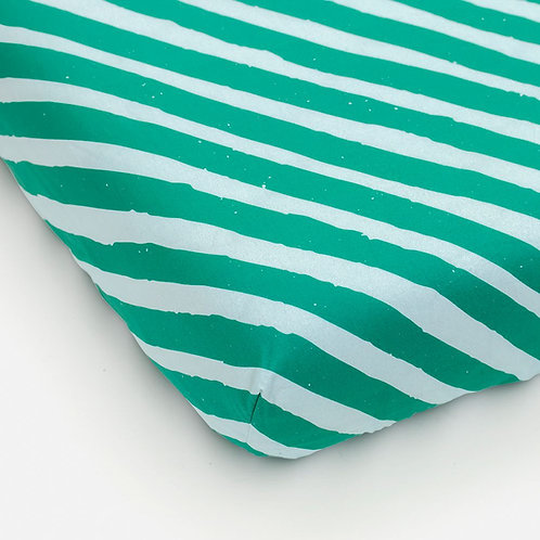 Fitted sheet stripes green light blue 90 x 200 cm