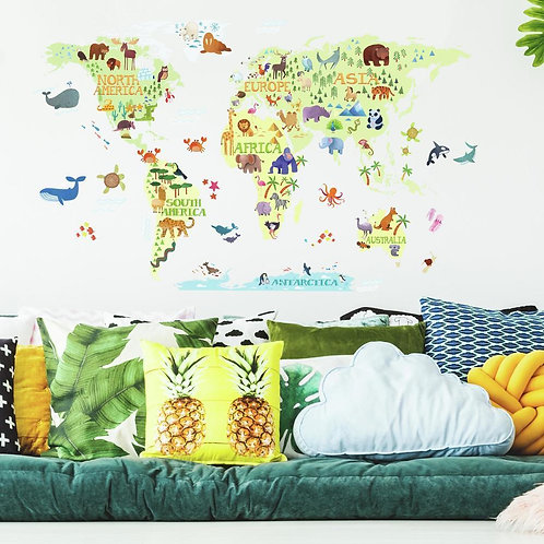 World map and animals - Wall Decals