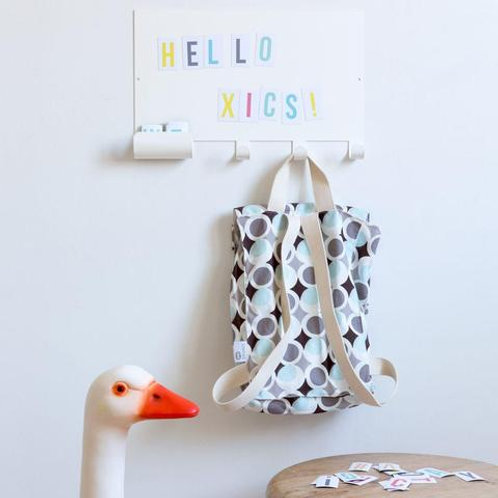 Board coat rack with magnet letters