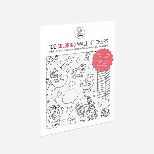 100 Coloring Wall Stickers