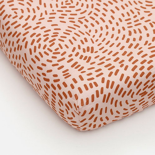 Fitted sheet flow pink rust brown 90 x 200 cm