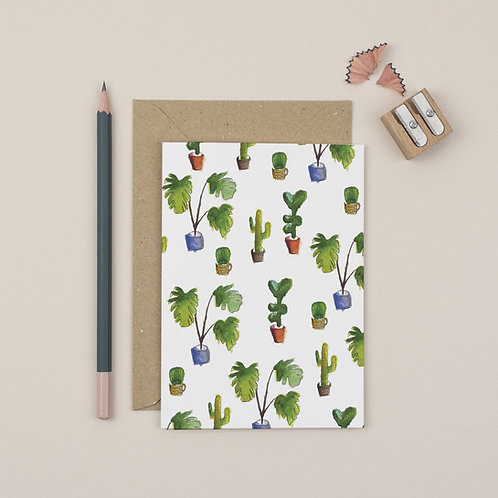 Cactus print greetings card
