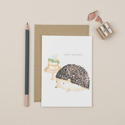 Hedgehog Happy Birthday greetings card