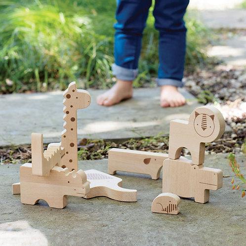 Safari Jungle Wooden Puzzle & Play Set