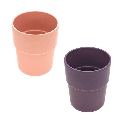 Mug Set Bamboo 2 pc, Uni peach - plum