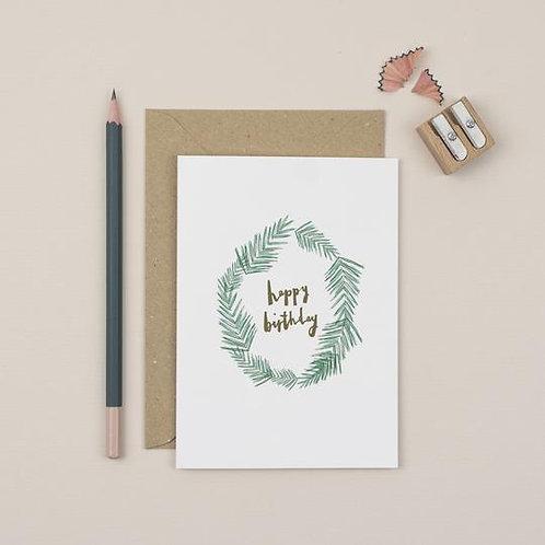 Luxury Wreath Happy Birthday card