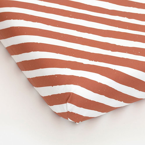 Fitted sheet stripes rust brown 90 x 200 cm