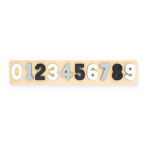 Number puzzle wood grey/white