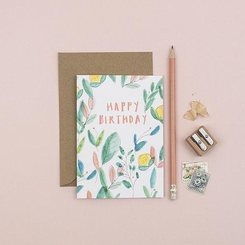 Botanical Happy Birthday greetings card