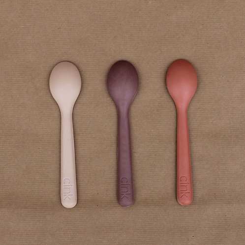 Bamboo Toddler Spoon (3 pack) - Fog/Beet/Brick