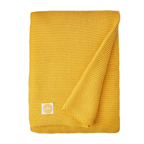 Blanket 100x150cm Basic knit ocher