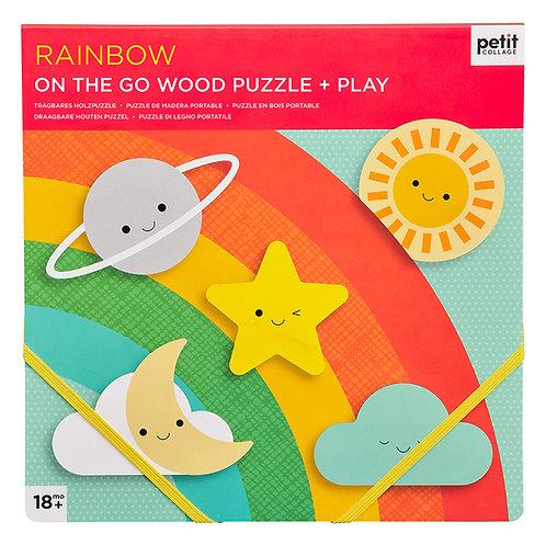 Chunky Wood Puzzle + Play - Rainbow