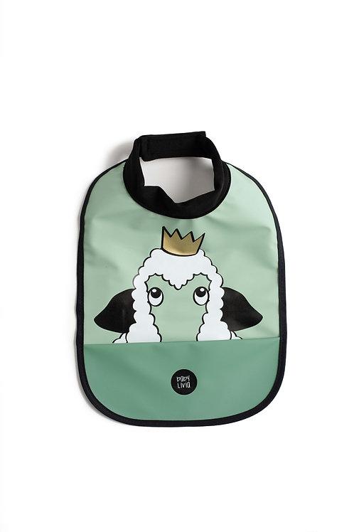 High neck bib - Sheep green