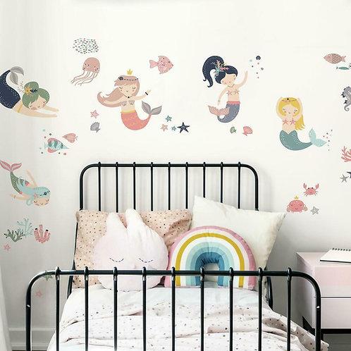 Sweet Pastel Mermaids Wall Decals