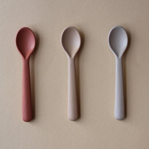Bamboo Toddler Spoon (3 pack) - Fog/Rye/Brick