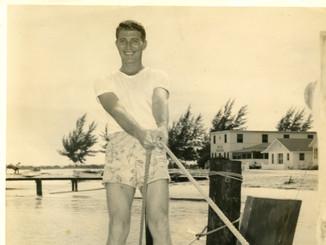 Lloyd Ahlschwede on a boat