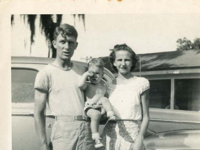 Martha & Lloyd Ahlschwede with Jon, 1947