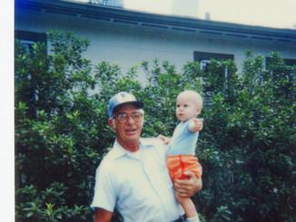 Lloyd Ahlschwede with grandson Andrew, 1985