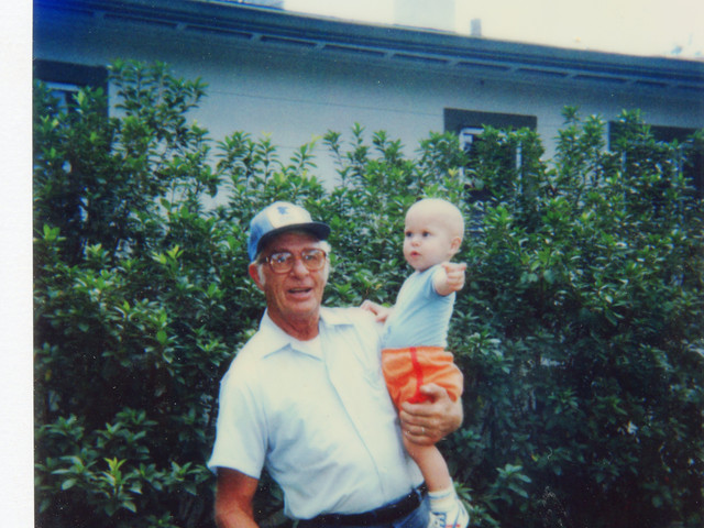 Lloyd Ahlschwede with grandson Andrew, 1985