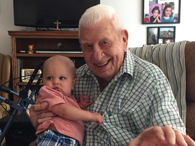 Lloyd Ahlschwede & his great grandson