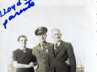 Lloyd Ahlschwede & his parents, 1944