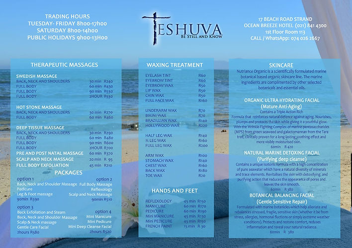 Teshuva Spa Price List
