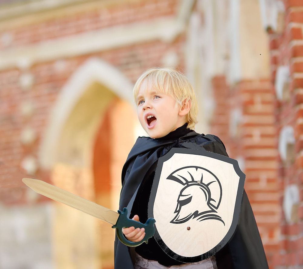 boy holding a wooden roman shield and a wooden sword