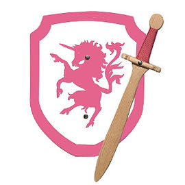 Pink wooden unicorn and sword