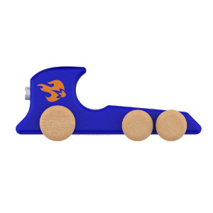 Wooden dragster car in blue