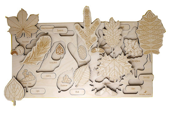 Tree leaf wooden puzzle tray