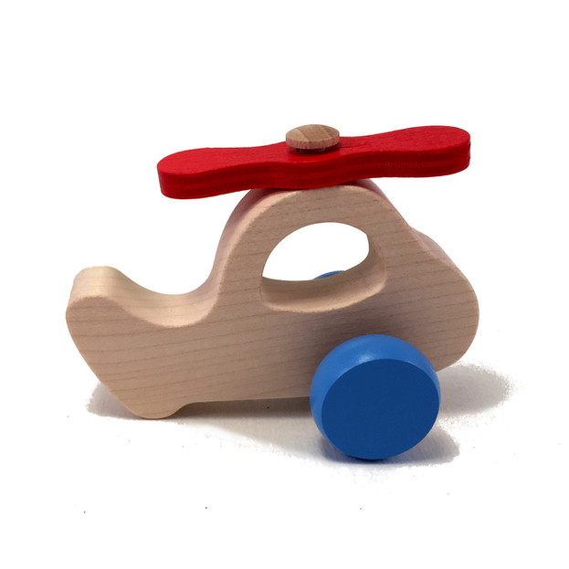 Wooden helicopter in red/blue