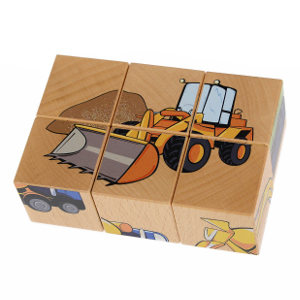 A 6 piece block puzzle with vehicles.