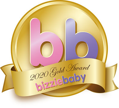 Bizziebaby Gold logo for the wooden car toys from Green Owl Toys