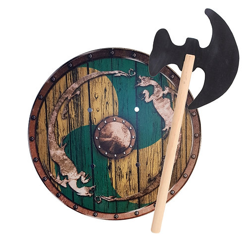 Viking warrior and wooden axe