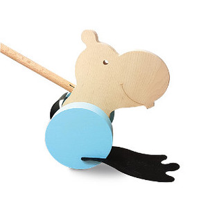 Small Hippo pushalong in blue