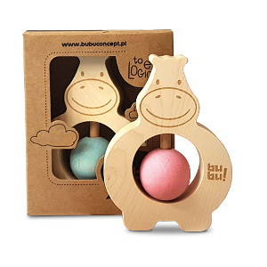 Hippo rattle in Pink or blue in packaging