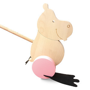 Hippo pushalong in pink