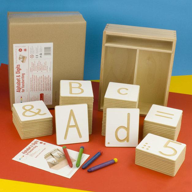 Alphabet and digit engraved blocks