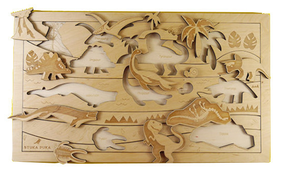Dinosaurs wooden puzzle tray