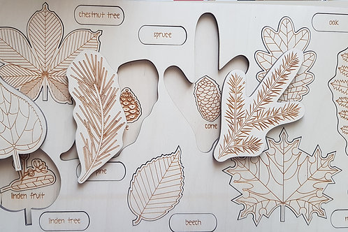 wooden wonders, natural wood, wooden tray puzzle, tray puzzle, leaves tray puzzle, nature baby