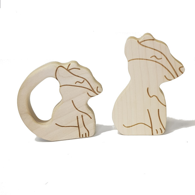 Badger teether and figure in natural woo