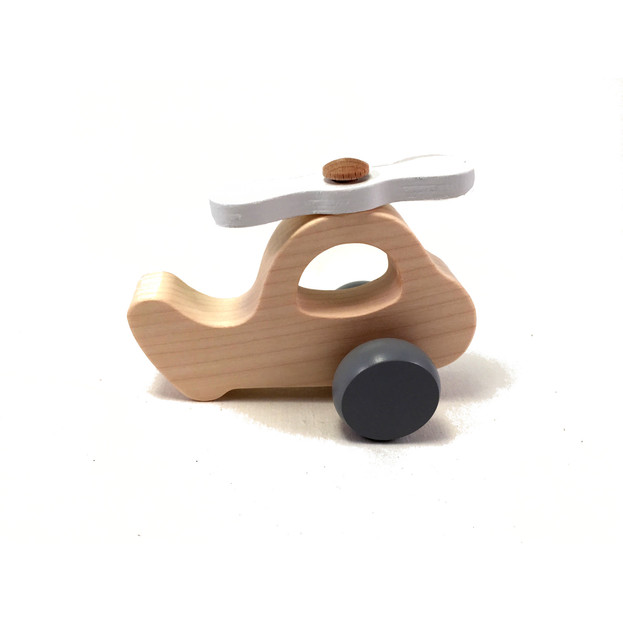 Wooden helicopter in white/grey