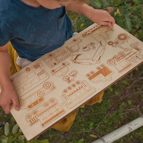 wooden wonders, natural wood, wooden tray puzzle, tray puzzle, vehicle tray puzzle, nature baby