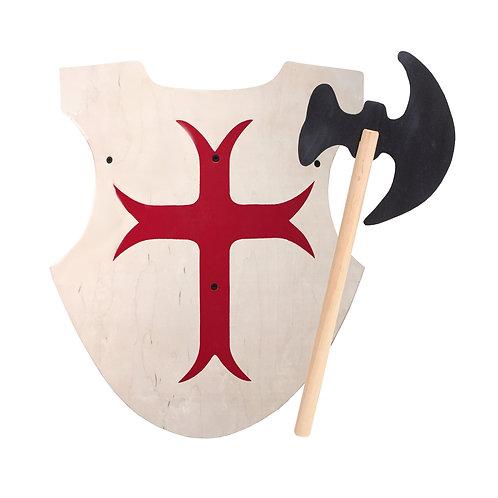 english crusader shield, crusader shield, wood axe, wood axes, wooden axe, viking axes,viking axe,double headed axe