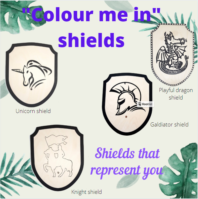 4 styles of wooden shields to colour in.