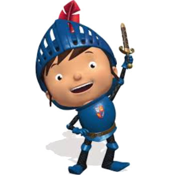 Mike the knight with his toy sword